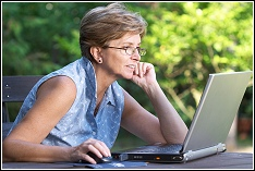 woman enjoying browsing online