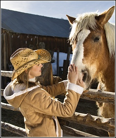 woman petting horse on rural property