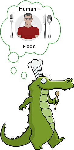 alligator that sees human as food